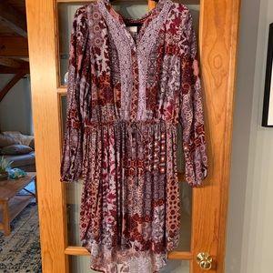 Bohemian Long Sleeved Hi Lo Dress